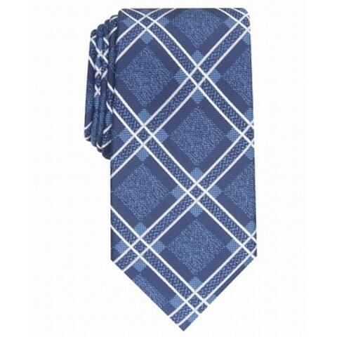Perry Ellis Men's Denner Classic Plaid Tie Navy Size Regular