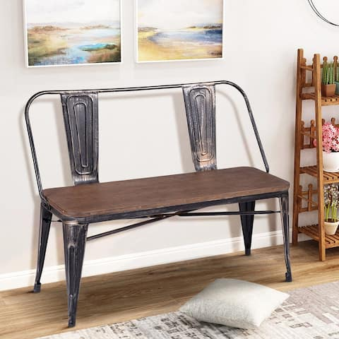 Rustic Distressed Wood Dining Bench with Metal Legs