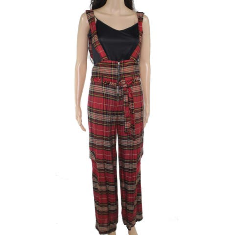 Angie Women's Overalls Red Black Size Small S Tartan Plaid Belted