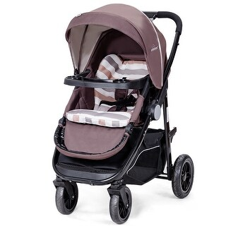 Costway Aluminum Lightweight Foldable Baby Stroller Newborn Infant Kids Travel Pushchair - COFFEE