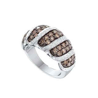 14k White Gold Cognac-brown Colored Natural Diamond Womens Cocktail Fine Ring 1.48 Cttw - Brown