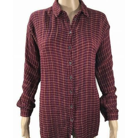 TopShop Womens Top Purple Blue Size 6 Button Down Shirt Plaid Print