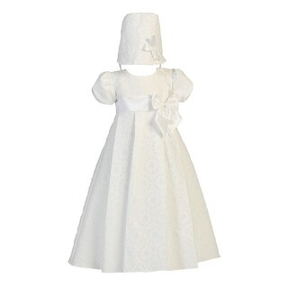Baby Girls White Floral Jacquard Christening Easter Hat Dress Set 0-18M