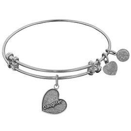 """Angelica Collection Antique Stipple Finish Brass """"Daughter Heart"""" Expandable Bangle Complementing Gel1004"""
