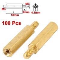 Unique Bargains 100Pcs M3 Male x Female 18+6mm Fixed PCB Brass Hex Standoff Screw Thread Spacer