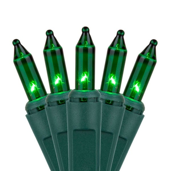 """Wintergreen Lighting 15184 17.5' Long Indoor Standard 35 Mini Light Holiday Light Strand with 6"""" Spacing and Green Wire"""