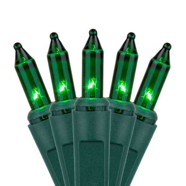 """Wintergreen Lighting 15206 50.5' Long Indoor Standard 100 Mini Light Holiday Light Strand with 6"""" Spacing and Green Wire"""
