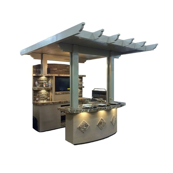 "KoKoMo Grills St. Croix 3 Piece 4' Island With 7'6"" Media Wall & 7'6"" Bar Outdoor BBQ Kitchen. Opens flyout."