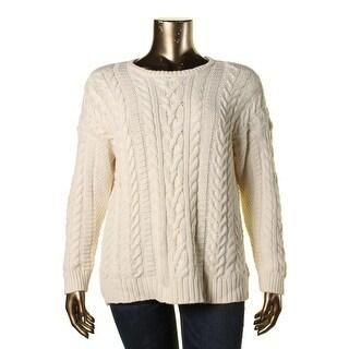 Lauren Ralph Lauren Womens Plus Cable Knit Crew Pullover Sweater