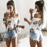 Fashion Lady Flower Print Blouse hot Boat Neck Off Shoulder Long Sleeve T-shirt