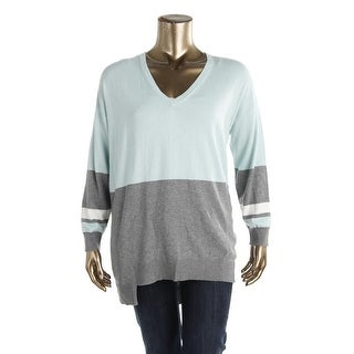 Vince Camuto Womens Asymmetric V-Neck Pullover Sweater