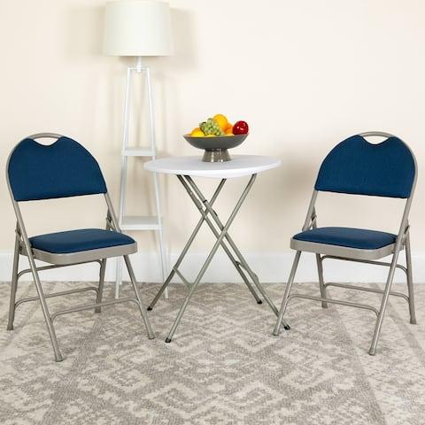 2PK Ultra-Premium Triple Braced Vinyl Folding Chair with Easy-Carry Handle