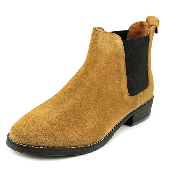 Eight Second Angel Caroline Chelsea Boot Women Round Toe Suede Tan Ankle Boot