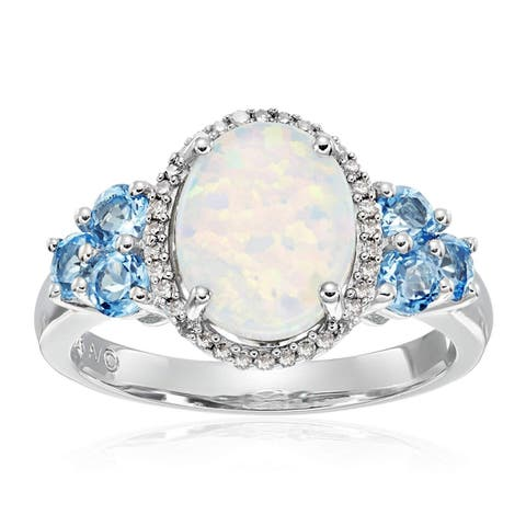 Created Opal, Natural Swiss Blue Topaz & 1/10 ct Diamond Ring in Sterling Silver - White