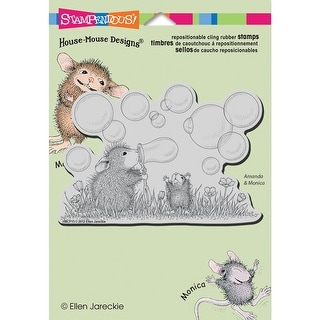 """Stampendous House Mouse Cling Stamp 5.5""""X4.5"""" -Blowing Bubbles"""