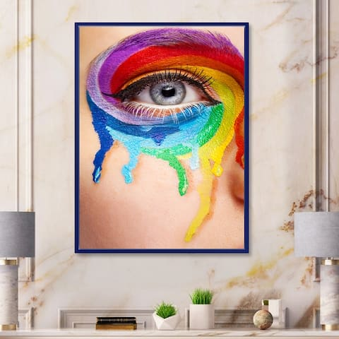Designart 'Close Up Eye With Cry Colors In A Wheel Arround' Modern Framed Canvas Wall Art Print