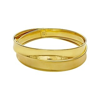 Crossover Bangle Bracelet in 18K Gold-Plated Sterling Silver - Yellow