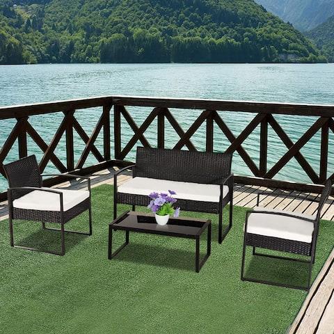 4-piece Outdoor Leisure Rattan Furniture Wicker Chair Metal Armrest