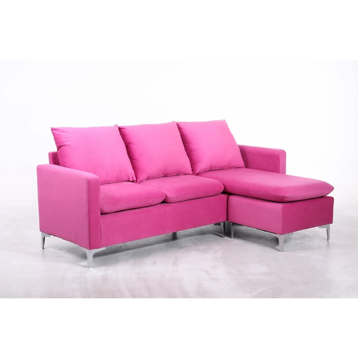 Picture of: Minori Modular Velvet Sectional Sofa With Pillow Back And Movable Chaise Overstock 31912467