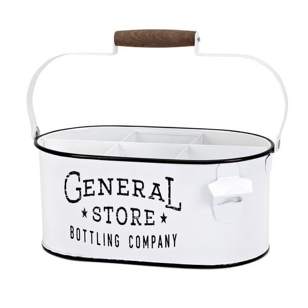 """IMAX Home 44260 General Store 14"""" Wide Iron Bottle Caddy with Bottle Opener - White"""