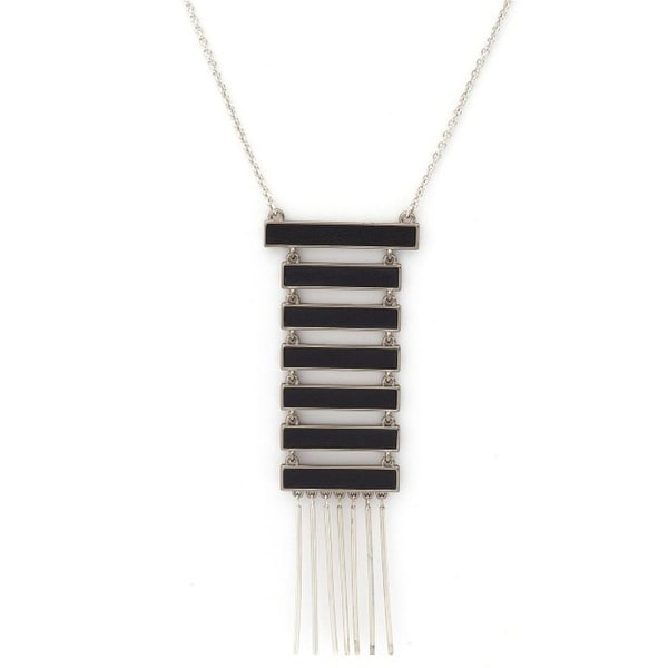 House of Harlow by Nicole Richie Womens Totem Pole Pendant Necklace Antiqued - black/silver