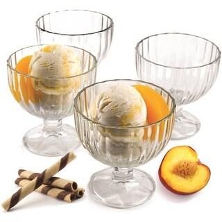 Palais Glassware 'Creme Glacee' High Quality, Clear Glass, Ice Cream Dessert Bowls - Set of 4 - 9 Oz
