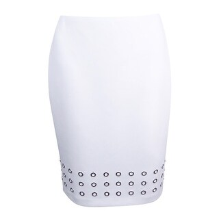 Calvin Klein Women's Plus Grommet-Detail Pencil Skirt - White