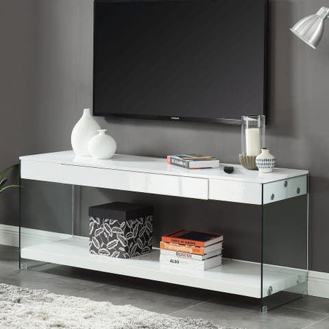 Contemporary Style Plastic TV Stand with Glass Side Panels, White