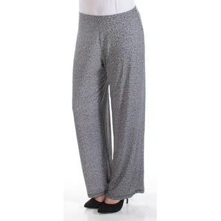 Womens Black White Speckle Casual Wide Leg Pants Size M