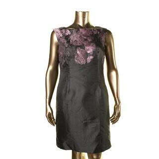 Tahari ASL Womens Alisa Metallic Jacquard Cocktail Dress - 14
