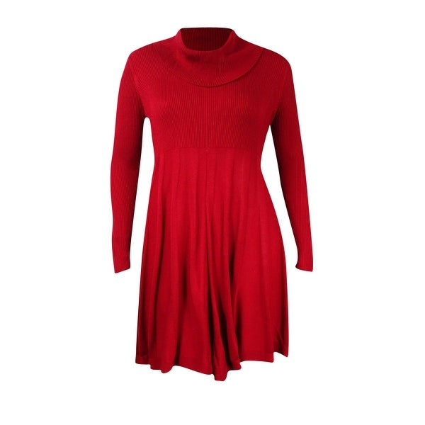 c1dcfe0af7c8d Shop Calvin Klein Women's Cowl-Neck Fit & Flare Sweater Dress - Red - On  Sale - Free Shipping Today - Overstock - 17573146