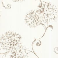 Brewster 450-67355 Deliah Pearl Watercolor Dahlia Wallpaper - pearl dahlia - N/A