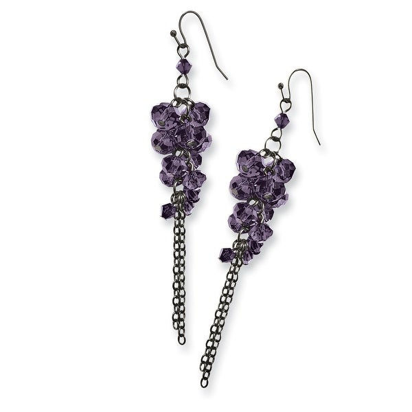 Black IP Purple Crystal Fireball Leverback Earrings
