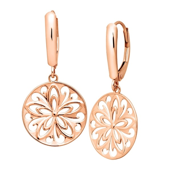 Just Gold Floral Medallion Drop Earrings in 14K Rose Gold - Pink