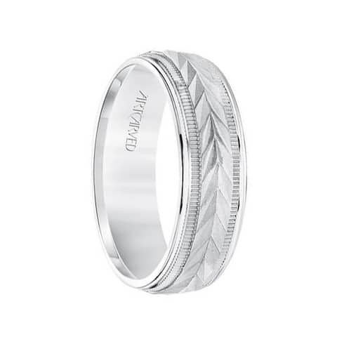 14k White Gold Wedding Band Flat Classic Wheat Motif Center Design with Coin Edge Accent Round Edges by ArtCarved- 6.5 mm