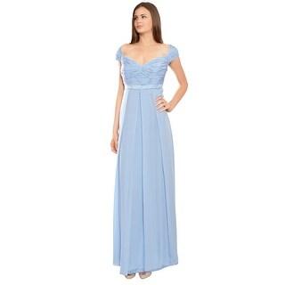 Escada Silk Georgette Ruched Cap Sleeve Evening Gown Dress