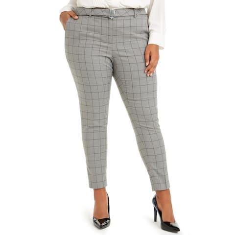 Calvin Klein Womens Plus Straight Leg Pants Windowpane Office - Grey - 16W