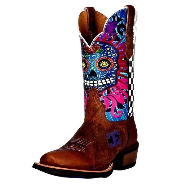 Cinch Western Boots Mens Edge Scallop Dia De Kaos Blunt Toe Tan