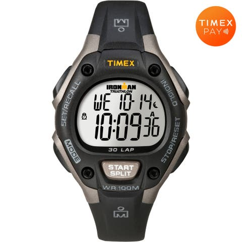 Timex Unisex IRONMAN Classic 30 34mm Watch with Timex Pay - Black & Silver-Tone with Silicone Strap - One Size