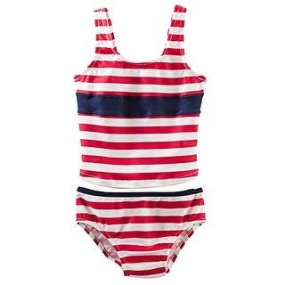 OshKosh B'gosh Little Girls' 2 Piece Striped Tankini - 6 Youth - Red/White/Blue