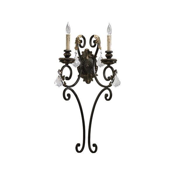 Quorum International 5357-2 Rio Salado 2 Light Wall Sconce - toasted sienna with mystic silver