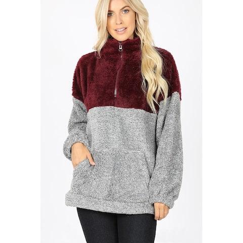JED Women's Contrast Half Zip Plush Pullover Sweater