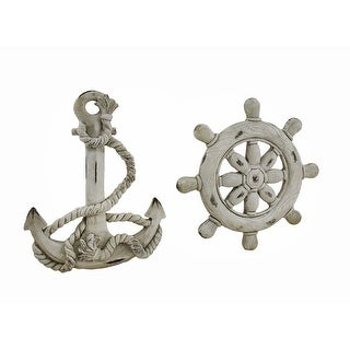 Ship Wheel And Anchor White Finish Nautical Wall Hangings Set of 2