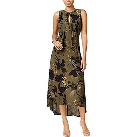 Bar III Womens Printed Hi-Low Maxi Dress Green XXS - XX-Small