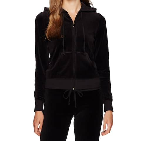 Juicy Couture Deep Black Womens Hoodie Size S Velour Front Full-Zip