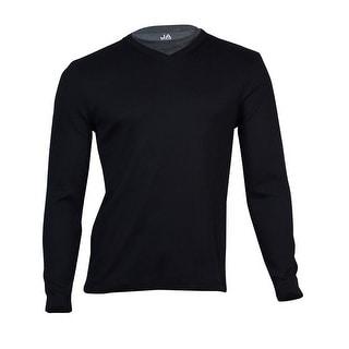 John Ashford Men's Ribbed V-Neck Shirt (Deep Black, S) - S