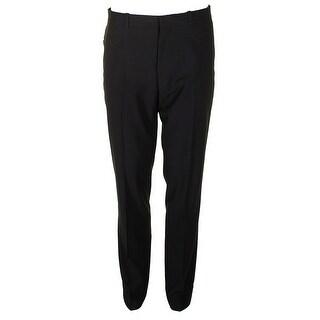 Perry Ellis Mens Navy Blue Slim-Fit Stretch Check Pants - 34