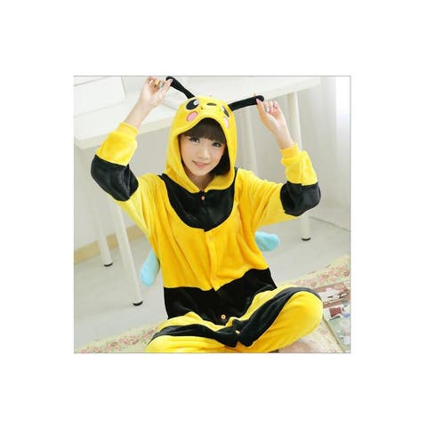 Unisex Adult Pajamas Cosplay Costume Animal one-piece Sleepwear Suit - Yellow - S