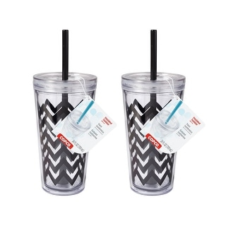 2 Pack Copco Minimus Tumbler With Removable Straw Double Wall Insulation - BPA Free Plastic 24 Oz - Black - Chevron Black