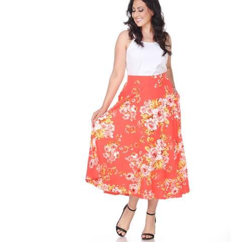Plus Size Floral Tasmin Flare Midi Skirts - Orange
